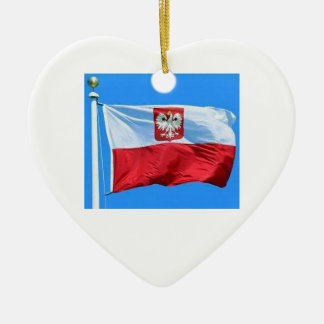 POLISH FLAG WITH EAGLE CREST ON HEART CERAMIC ORNAMENT