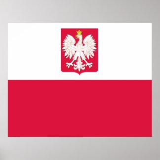 Polish Flag with Eagle Poster