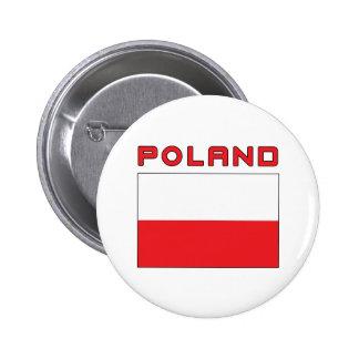 Polish Flag With Poland 2 Inch Round Button