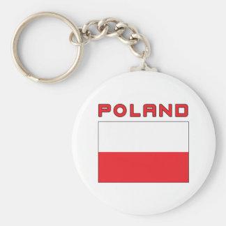 Polish Flag With Poland Basic Round Button Keychain