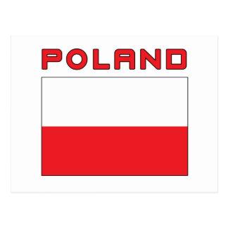 Polish Flag With Poland Postcard