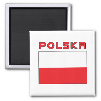 Polish Flag With Polska 2 Inch Square Magnet