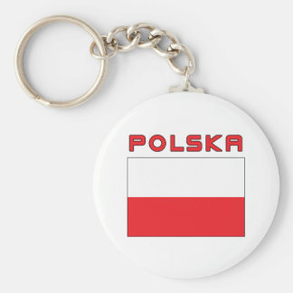 Polish Flag With Polska Keychain