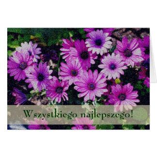 Polish Floral Birthday Card Sto Lat African Daisie