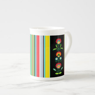 Polish Floral Embroidery, Bone China Mug Tea Cup