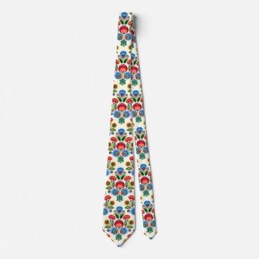 Christmas Themed Polish Folk Flowers Tie