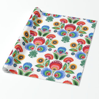Polish Folk Flowers Wrapping Paper