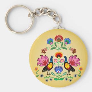Polish Folk With Decorative Floral & Cockerels Keychain