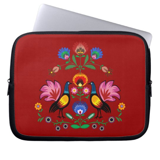 Polish Folk With Decorative Floral & Cockerels Laptop Sleeve