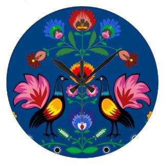 Polish Folk With Decorative Floral & Cockerels Large Clock