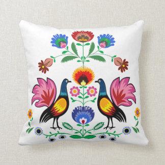 Polish Folk With Decorative Floral & Cockerels, Throw Pillow