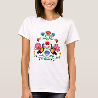 Polish Folk With Decorative Foral & Cockerels, T-Shirt