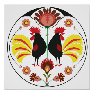 Polish Folk With Decorative Roosters, Poster
