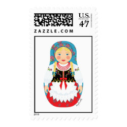 Polish Girl Matryoshka Stamps