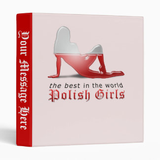 Polish Girl Silhouette Flag 3 Ring Binder