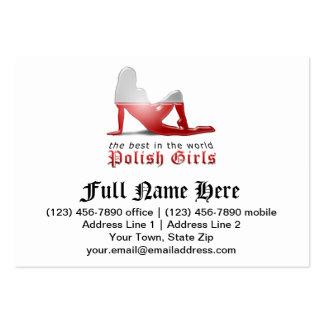 Polish Girl Silhouette Flag Business Card