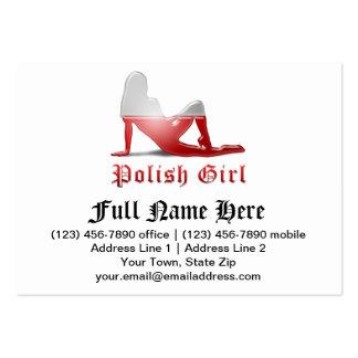 Polish Girl Silhouette Flag Business Card Template