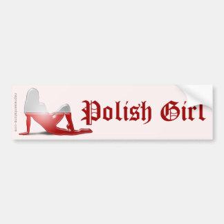Polish Girl Silhouette Flag Car Bumper Sticker