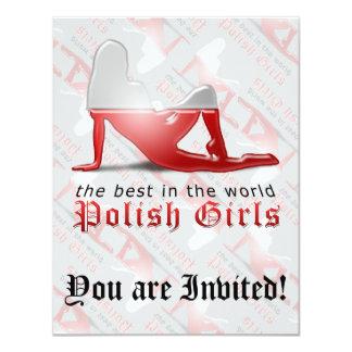 Polish Girl Silhouette Flag Custom Invites