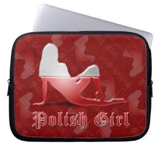 Polish Girl Silhouette Flag Laptop Sleeves