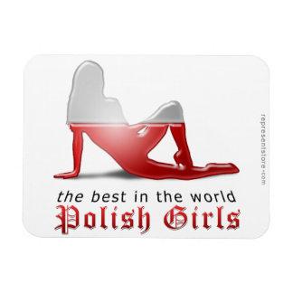 Polish Girl Silhouette Flag Magnet