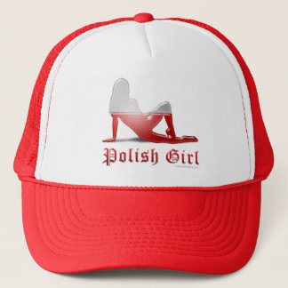 Polish Girl Silhouette Flag Trucker Hat