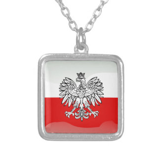 Polish glossy flag silver plated necklace