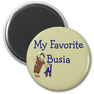 """Polish Grandmother """"My Favorite Busia"""" Gifts 2 Inch Round Magnet"""