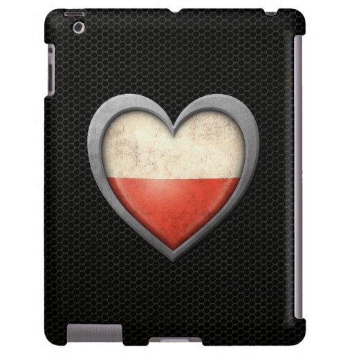 Polish Heart Flag Steel Mesh Effect