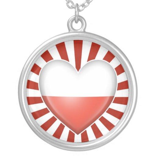 Polish Heart Flag with Star Burst Necklaces