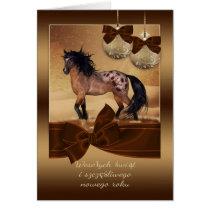 Polish Horse Christmas Holiday Greeting Card