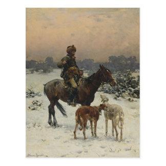 Polish Hunter on Horseback Postcard