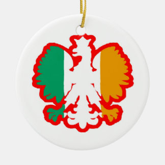 POLISH/IRISH FLAG CERAMIC ORNAMENT