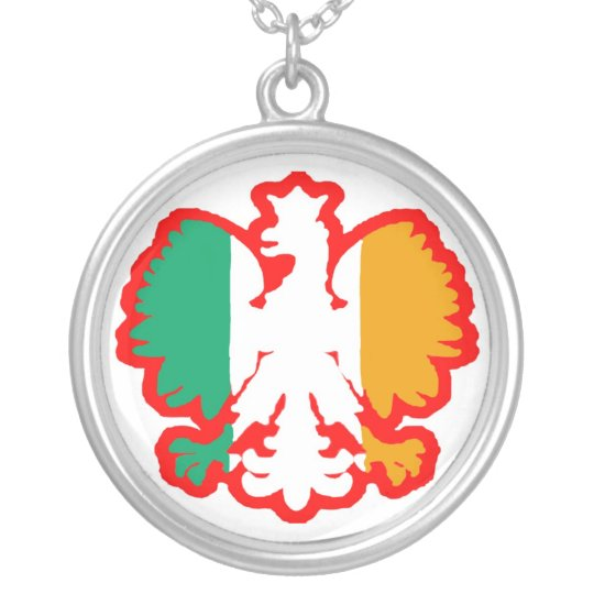 POLISH/IRISH FLAG SILVER PLATED NECKLACE