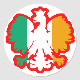 POLISH/IRISH FLAG CLASSIC ROUND STICKER