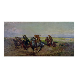 Polish Lancers attacking Russians, 1920 Poster