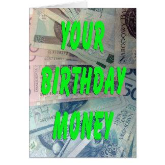 Polish Loti Birthday Money Card
