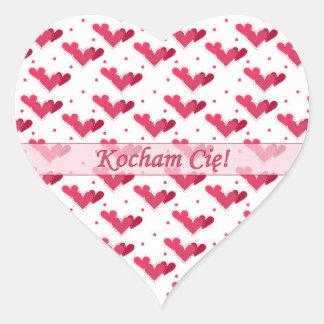 Polish Love Red Hearts on White Heart Sticker