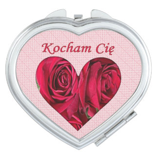 Polish Love You Red Roses Heart Compact Mirror