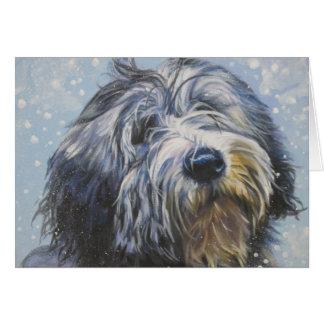 Polish Lowland sheepdog Christmas card