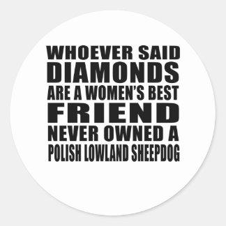 POLISH LOWLAND SHEEPDOG DOG BEST FRIEND DESIGNS CLASSIC ROUND STICKER