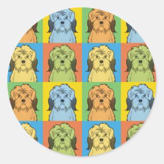 Polish Lowland Sheepdog Dog Cartoon Pop-Art Classic Round Sticker