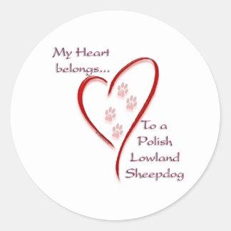 Polish Lowland Sheepdog Heart Belongs Classic Round Sticker
