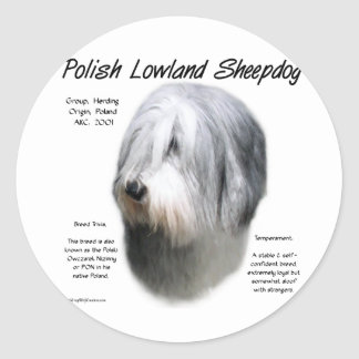 Polish Lowland Sheepdog History Design Classic Round Sticker