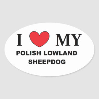 polish lowland sheepdog love oval sticker