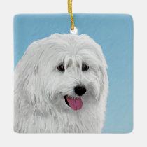 Polish Lowland Sheepdog Painting - Original Dog Ar Ceramic Ornament