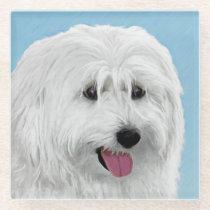 Polish Lowland Sheepdog Painting - Original Dog Ar Glass Coaster