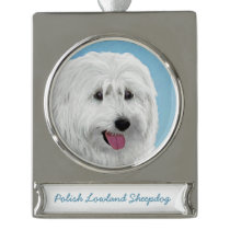 Polish Lowland Sheepdog Painting - Original Dog Ar Silver Plated Banner Ornament
