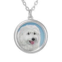 Polish Lowland Sheepdog Painting - Original Dog Ar Silver Plated Necklace