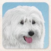 Polish Lowland Sheepdog Painting - Original Dog Ar Square Paper Coaster